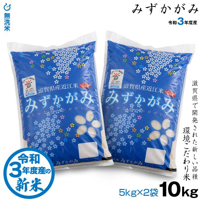 送料無料 新米 無洗米 定価の67%OFF みずかがみ 10kg 環境こだわり米 新作送料無料 令和3年:滋賀県産 5kg×2袋