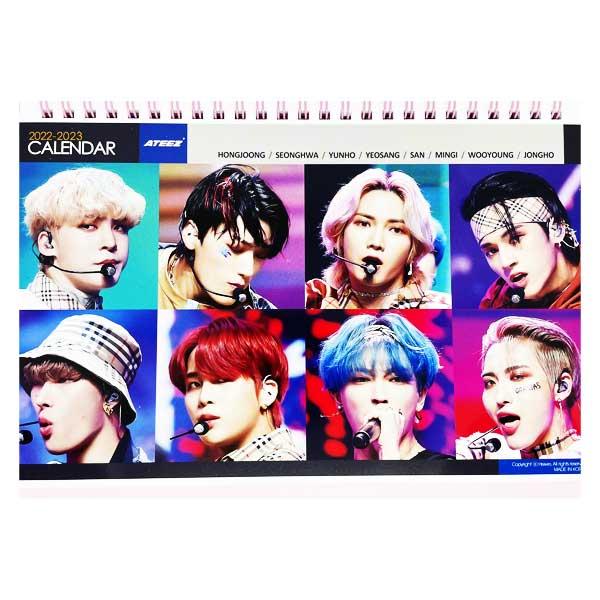 卓上カレンダー ATEEZ エーティーズ 2022.2023年 2年分 公式通販 ピンク 送料無料 カレンダー 高品質新品 韓国アイドル 韓流 韓国 卓上 韓ドラ K-POP