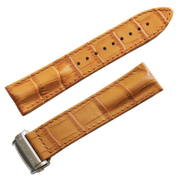 ハミルトン純正バンド・ベルトジャズマスター-H326350/H327050用カーフ/茶色ブラウン時計側22ミリ・尾錠側20ミリ HAMILTON部品番号:H600.326.117=H600326117
