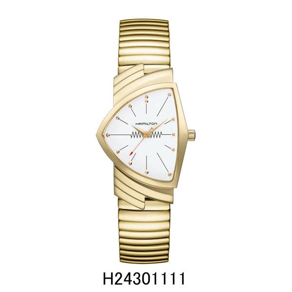 ハミルトン腕時計 H24301111/ベンチュラ フレックスブレスレットモデル(クォーツ)白文字盤/SSフレックス(イエローゴールドPVD)VenturaQuartz2年保証 HAMILTON 『送料無料』【プレゼント対象】