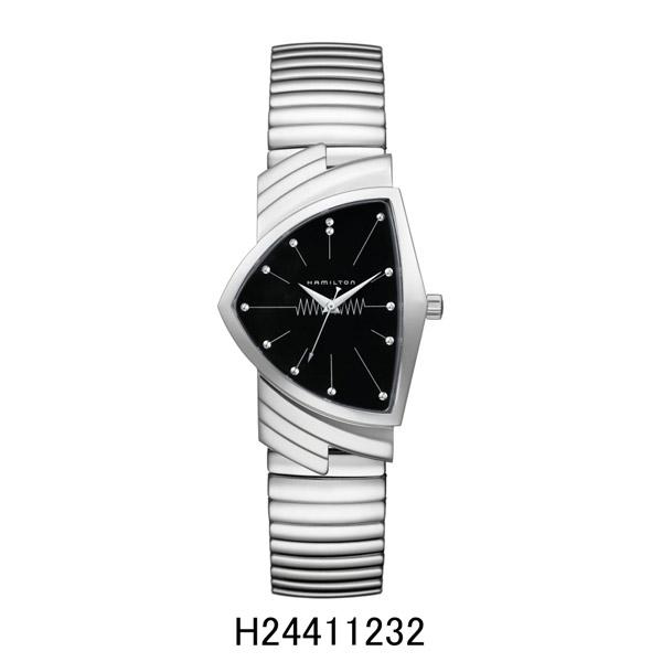 正規品 ハミルトン腕時計 H24411232ベンチュラ フレックスブレスレットモデル(クォーツ)黒文字盤/SSフレックス VenturaQuartzメーカー2年保証 HAMILTON 『送料無料』