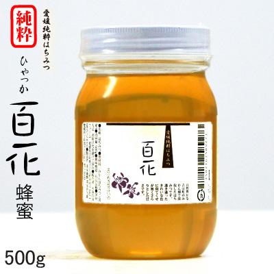 愛媛県産純粋はちみつ 自然豊かな山の百花蜜です。みかん蜂蜜で信頼を得ている清家養蜂の新発売! 愛媛産 百花蜂蜜500g 愛媛の春~初夏の花蜜。クセの少ない味