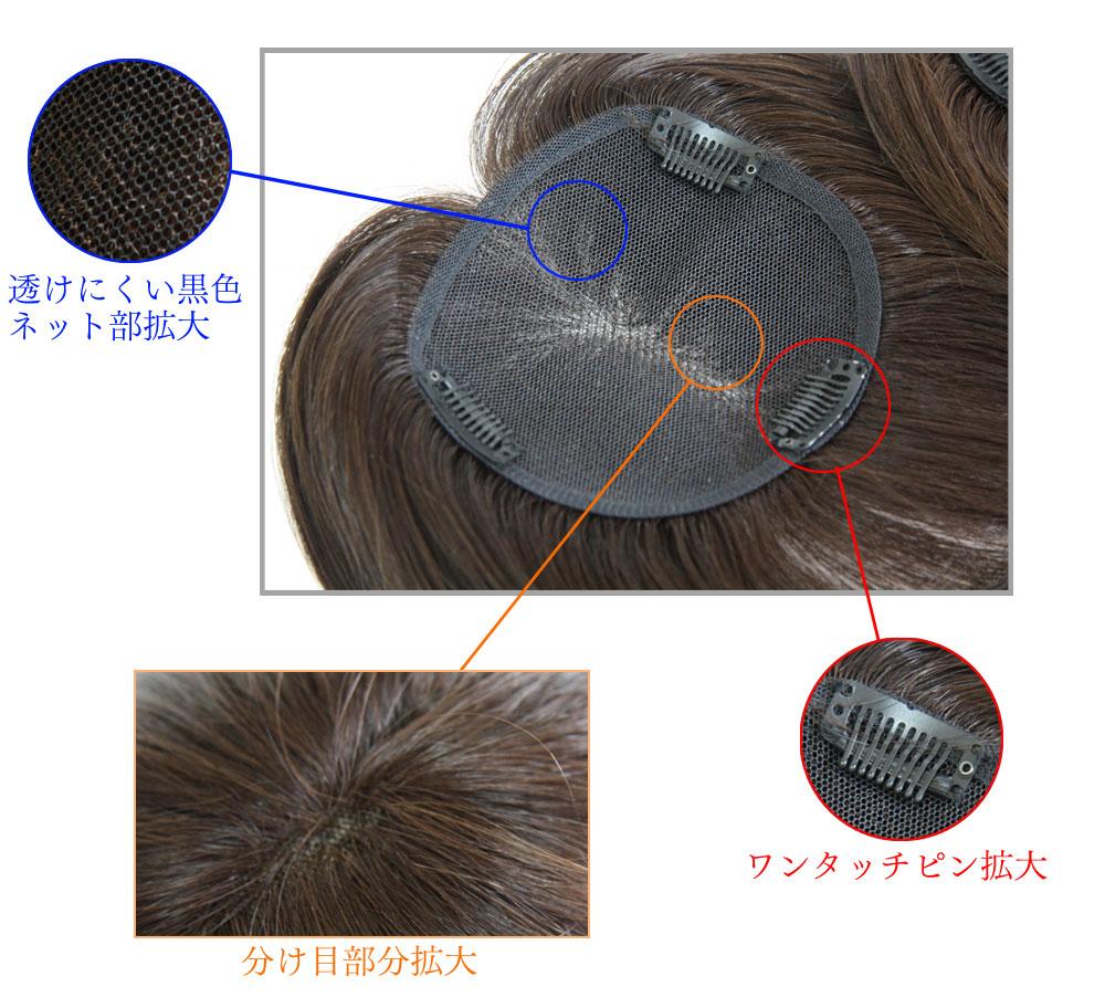 【おまけ付】ヘアピース 総手植え 人毛100% 【KAKUSU 小さめサイズ】カバータイプヘアピースで分け目、薄毛を自然にカバー  増毛ウィッグ 部分ウィッグ 自然 ミセス ポイント ウィッグ  部分かつら ヘアーピース シュシュクローゼット