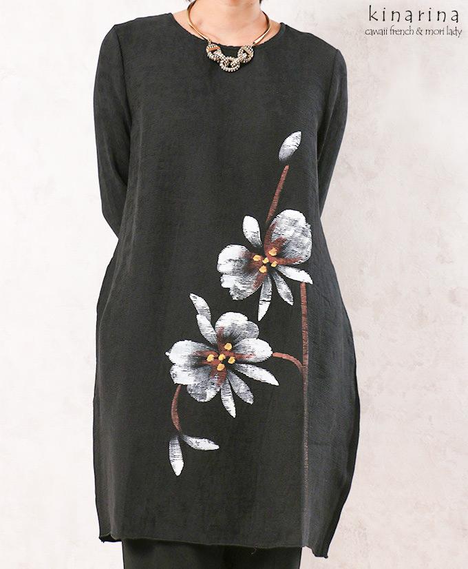 「cawaii french」白いお花が咲いたシックなコクーンワンピース【ブラック】