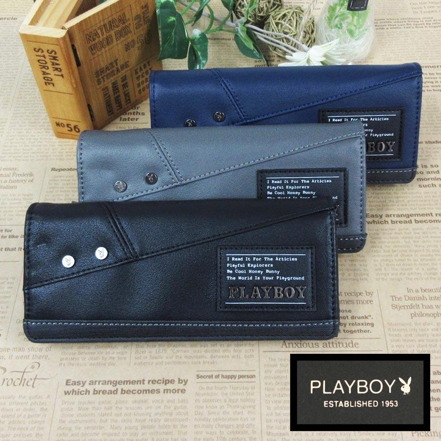 PLAYBOY デザイン おしゃれ お気に入り カッコいい ロングウォレット プレイボーイ 記念日 長財布 機能性 多い サイフ 財布 ブランド カード収納 メンズ