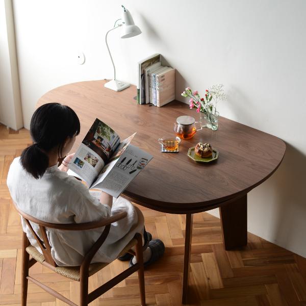 収納付 変形ダイニングテーブル SHUNO(シュノ)W150 ウォールナット【北欧 変形 丸テーブル 日本製 国産】