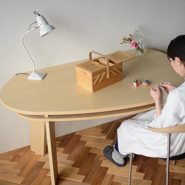 収納付 変形ダイニングテーブル SHUNO(シュノ)W150 ホワイトアッシュ【北欧 変形 丸テーブル 日本製 国産】