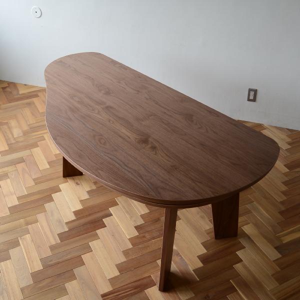 収納付 変形ダイニングテーブル SHUNO(シュノ)W180 ウォールナット【北欧 変形 丸テーブル 日本製 国産】