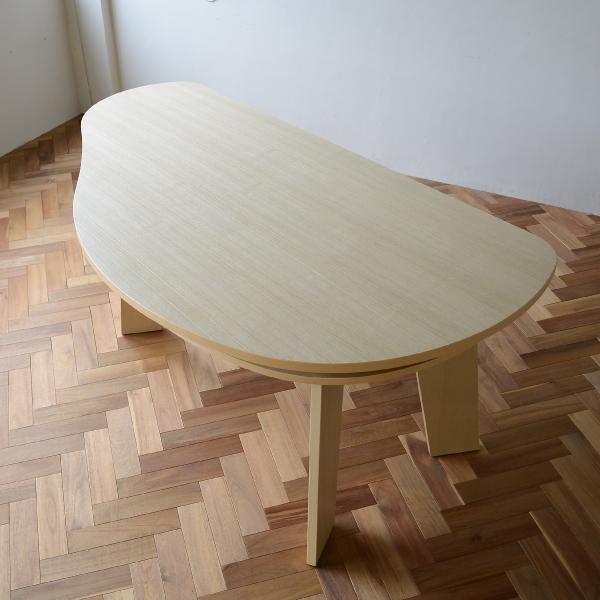 収納付 変形ダイニングテーブル SHUNO(シュノ)W180 ホワイトアッシュ【北欧 変形 丸テーブル 日本製 国産】