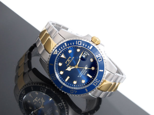 Technos TECHNOS mens watch 20 atmospheric pressure water resistant T2118TN dial bezel Navy コンビベルト