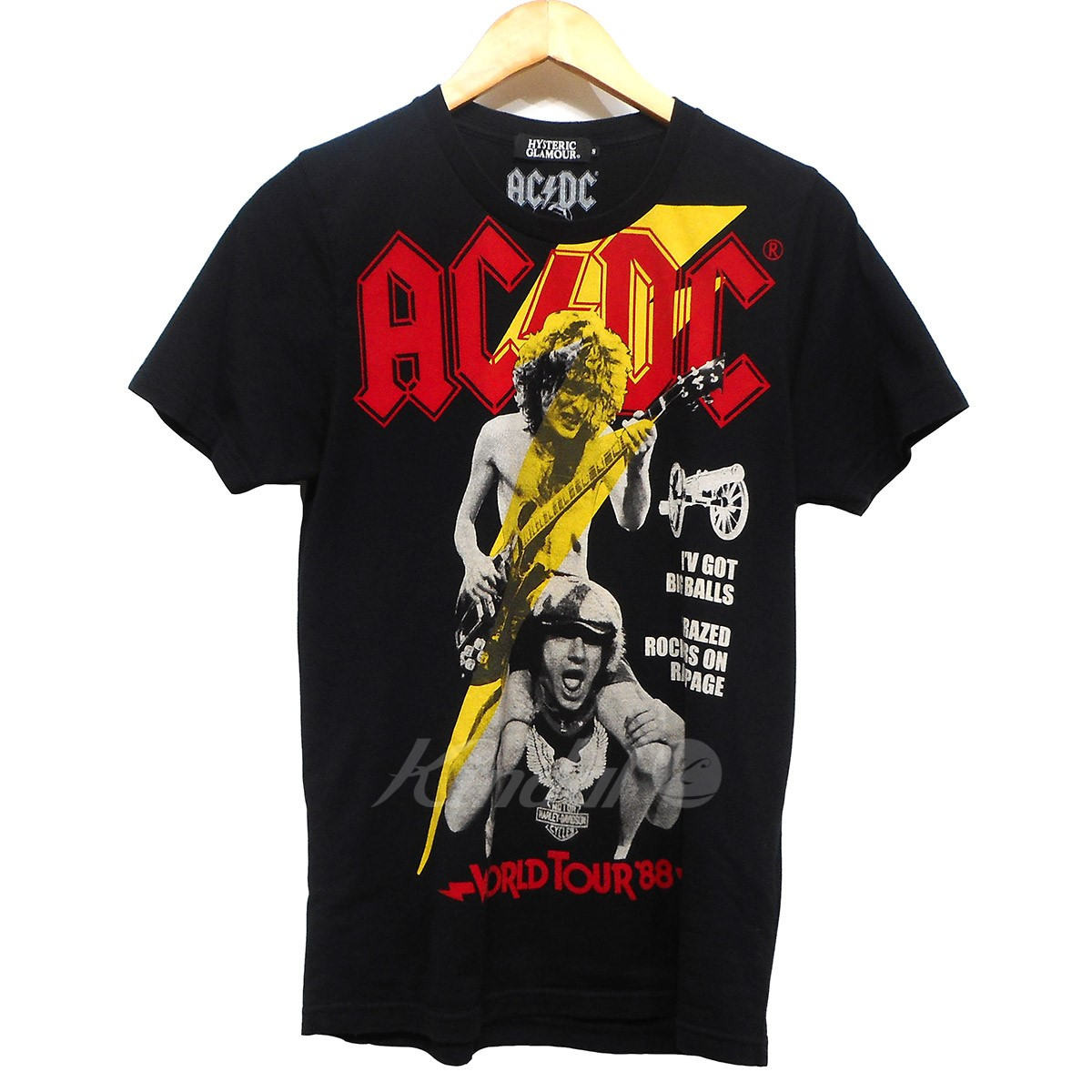 HYSTERIC GLAMOUR 15 SS ACDC/SUMMER VACATION TOUR pt T-SH블랙 사이즈:S (히스테릭글래머)