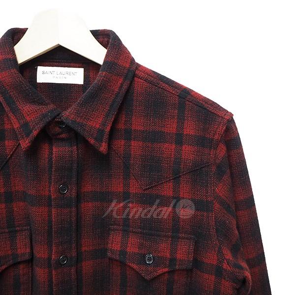 【中古】SAINT LAURENT PARIS 16AW ウエスタンオンブレチェックシャツ レッド×ブラック サイズ:L 【送料無料】 【131217】(サンローランパリ)