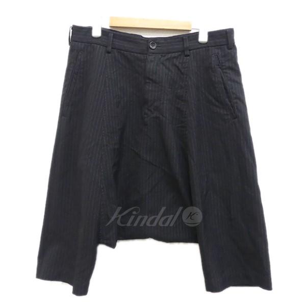 【中古】BLACK COMME des GARCONS ストライプ サルエルパンツ 2011AW ブラック サイズ:S 【送料無料】 【040118】(ブラック コムデギャルソン)