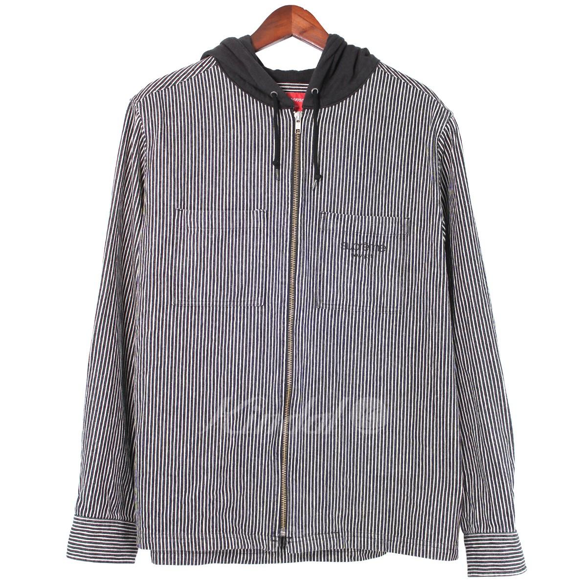 【中古】SUPREME 17AW Hooded Stripe Denim Zip Up Shirt クラシックロゴ 【送料無料】 【003728】 【KJ1368】