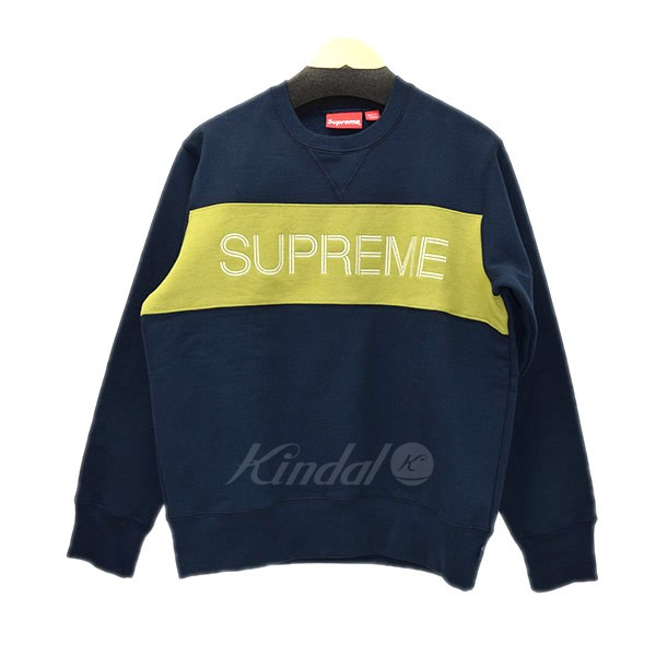 【中古】SUPREME 2017AW ZIG ZAG STITCH PANEL CREWNECK 【送料無料】 【000118】 【KIND1489】
