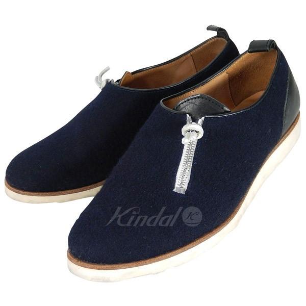 【中古】Hender Scheme zip shoes レザー ウール フェルト ジップ シューズ 【送料無料】 【000230】 【SG1366】