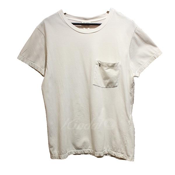 【6月25日 お値段見直しました】【中古】SAINT LAURENT PARISAD2015 カサンドラロゴ ポケットTシャツ ホワイト サイズ:S 【送料無料】