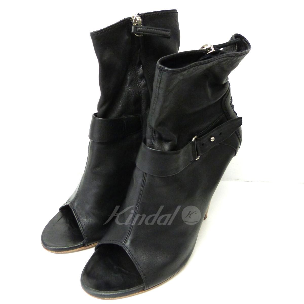 【中古】GIUSEPPE ZANOTTIオープントゥサイドZIPヒールブーツ ブラック サイズ:38 【送料無料】