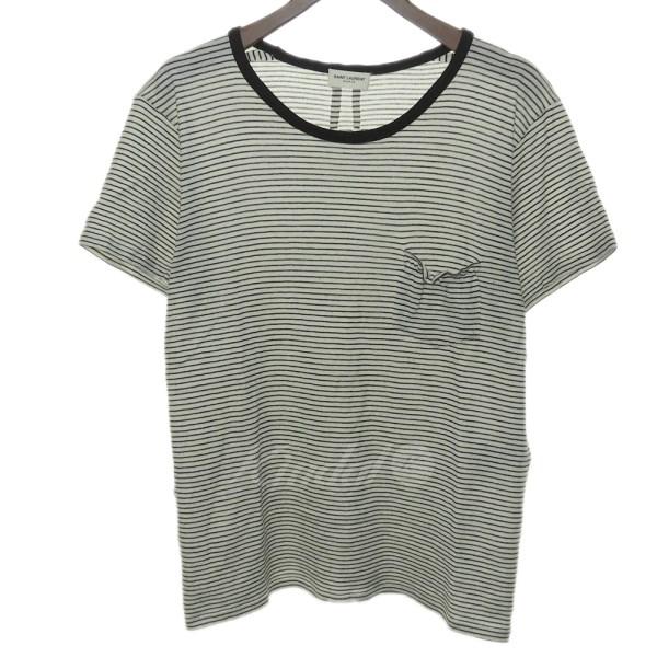 【5月10日 お値段見直しました】【中古】SAINT LAURENT PARIS胸ポケット ボーダーTシャツ ホワイト×ブラック サイズ:S 【送料無料】