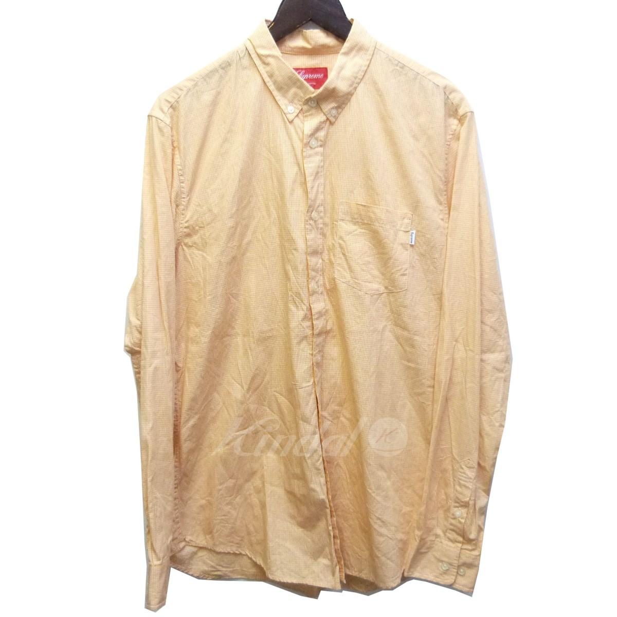 【中古】SUPREME チェックB.Dシャツ オレンジ サイズ:L 【送料無料】 【180318】(シュプリーム)