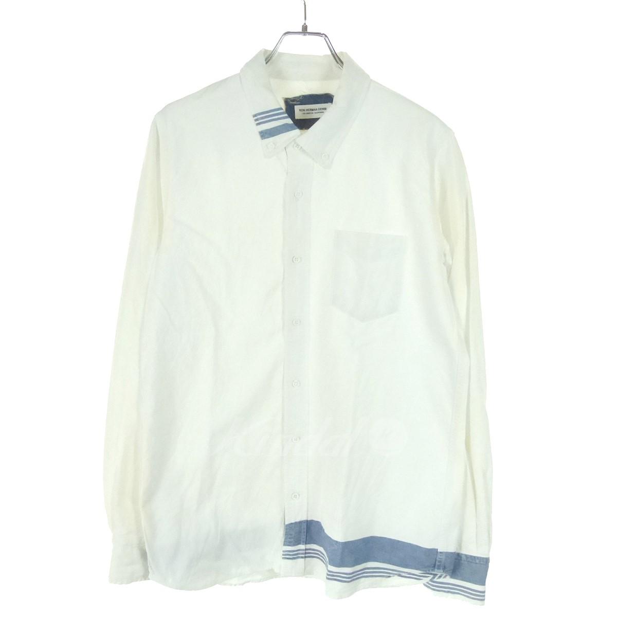 【中古】RON HERMAN DENIM 切替ボーダーコットンシャツ ホワイト×インディゴ サイズ:L 【送料無料】 【200318】(ロンハーマン)