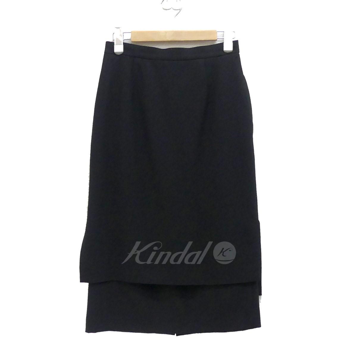 【10月15日 お値段見直しました】【中古】ENFOLD2015AW サイドスリット フェイクレイヤードスカート ブラック サイズ:36 【送料無料】