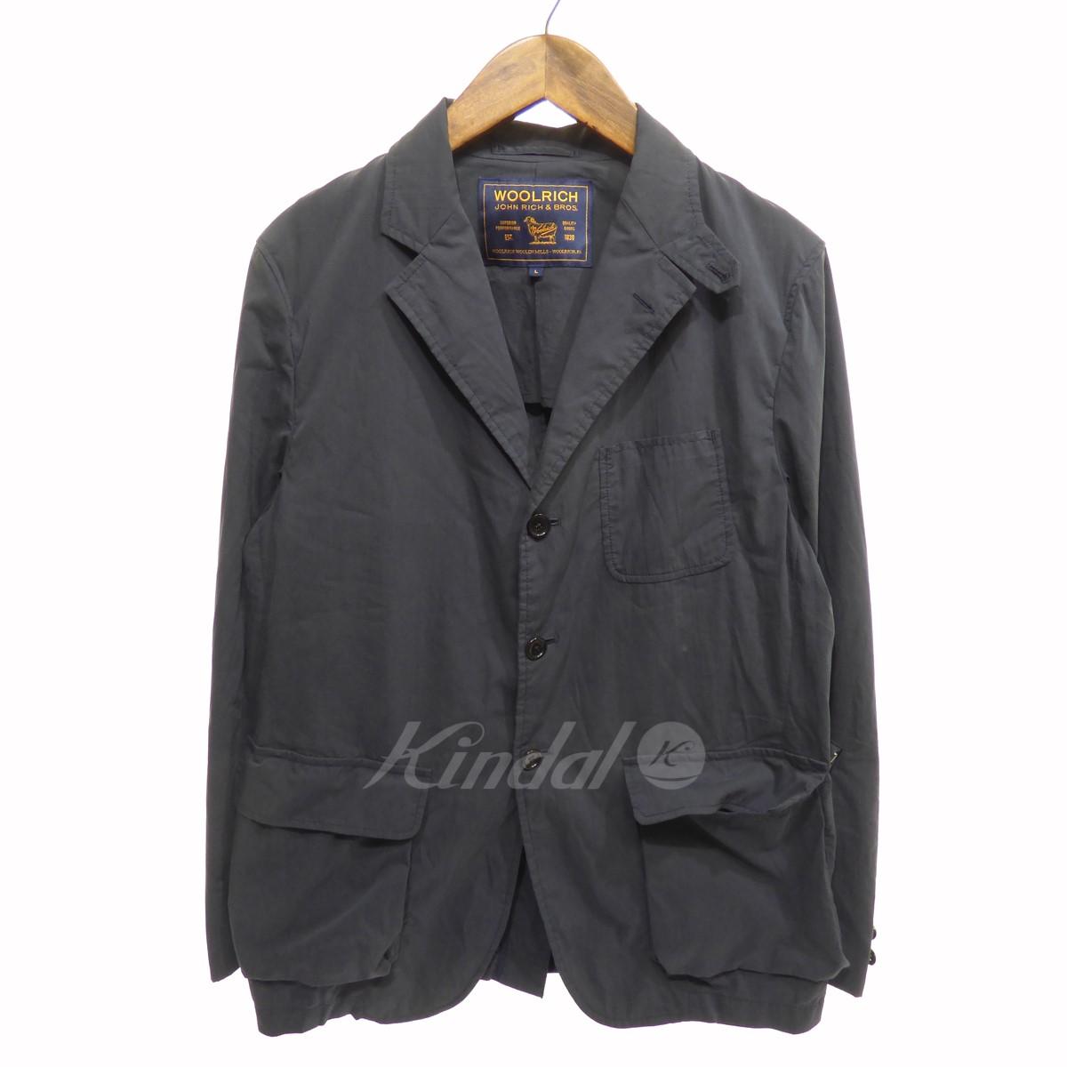 【中古】Wool rich ポリエステル混3Bコットンテーラードジャケット ネイビー サイズ:L 【送料無料】 【080418】(ウールリッチ)