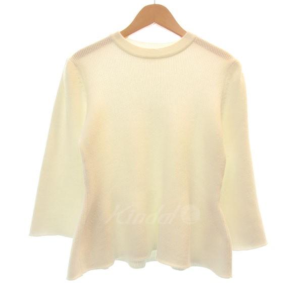 【中古】ELIN 3/4 sleeved hem knit フレアスリーブコットンニットセーター 【送料無料】 【012074】 【KIND1327】