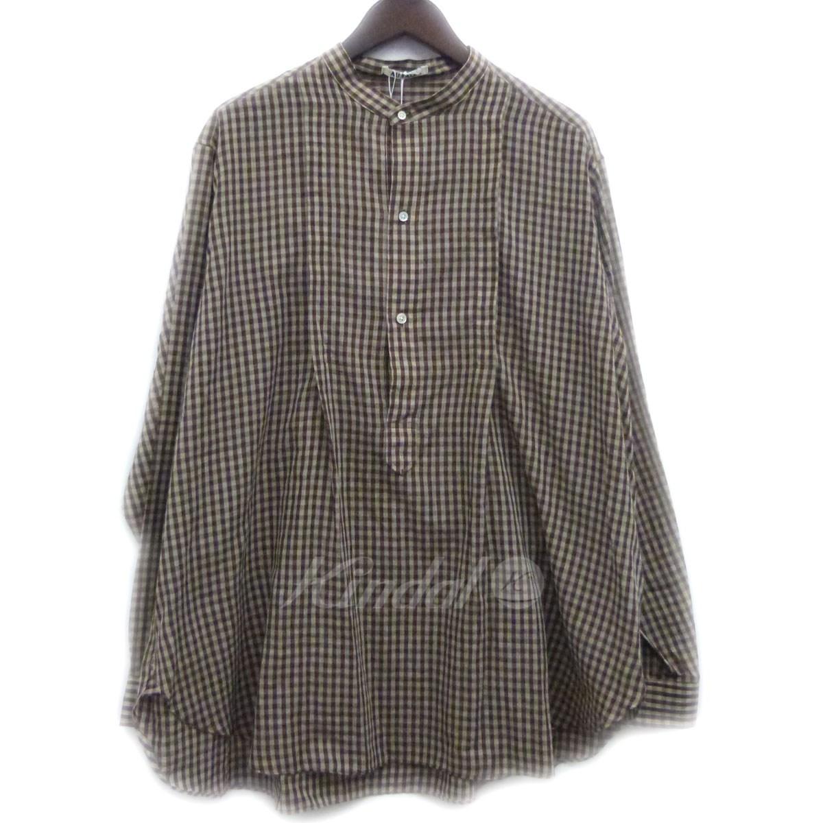 【中古】AURALEE 18SSノーカラープルオーバーチェックシャツ 【送料無料】 【054643】 【銅】