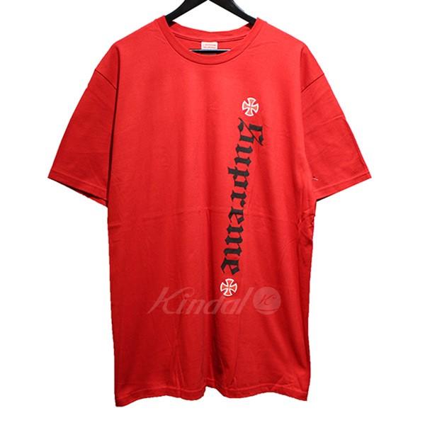【中古】SUPREME×Independent 2017AW Old English Tee オールドイングリッシュ Tシャツ レッド サイズ:L 【送料無料】 【170418】(シュプリーム インディペンデント)
