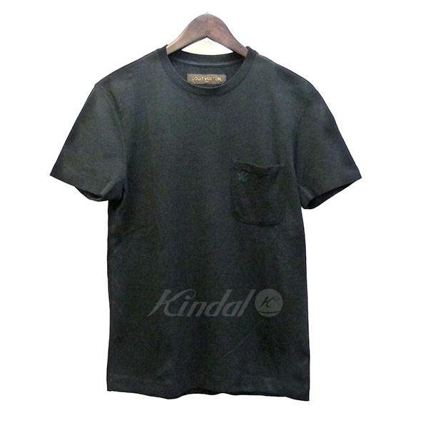 【6月7日 お値段見直しました】【中古】LOUIS VUITTON20104AW 胸ポケットロゴ刺繍Tシャツ ブラック サイズ:XXS 【送料無料】