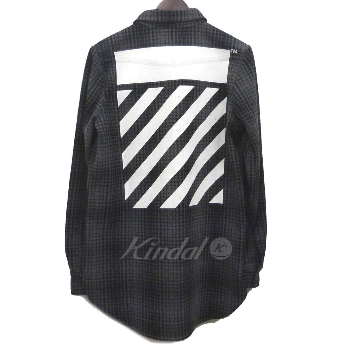 【中古】OFFWHITE 16AW「TARTAN SHIRT」バックプリントチェックシャツ 【送料無料】 【057279】 【銅】