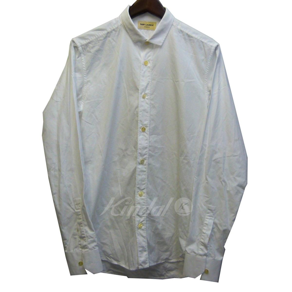 【中古】SAINT LAURENT PARIS 14SS 長袖シャツ ホワイト サイズ:38/15 【送料無料】 【210418】(サンローランパリ)