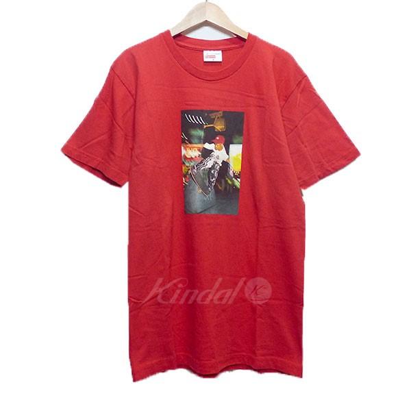 【11月15日 お値段見直しました】【中古】SUPREMEシュプリーム ギャルソン シャツ 2014SS プリント Tシャツ レッド サイズ:M 【送料無料】