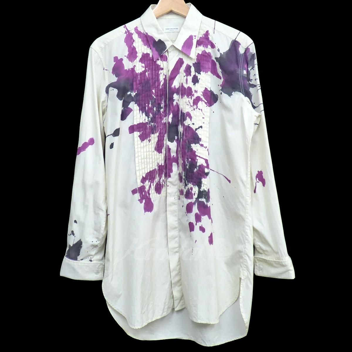 【中古】DRIES VAN NOTEN 11SS ペイントドレスシャツ オフホワイト サイズ:46 【送料無料】 【020518】(ドリスヴァンノッテン)