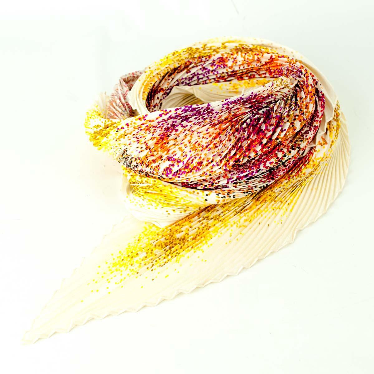 【中古】HERMES カレ プリーツ ドット シルクスカーフ 【送料無料】 【002015】 【銅】