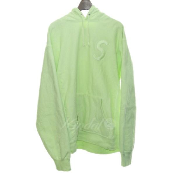 【6月7日 お値段見直しました】【中古】SUPREME17AW「Tonal S Logo Hooded Sweatshirt」S刺繍プルオーバーパーカー ライム サイズ:XL 【送料無料】
