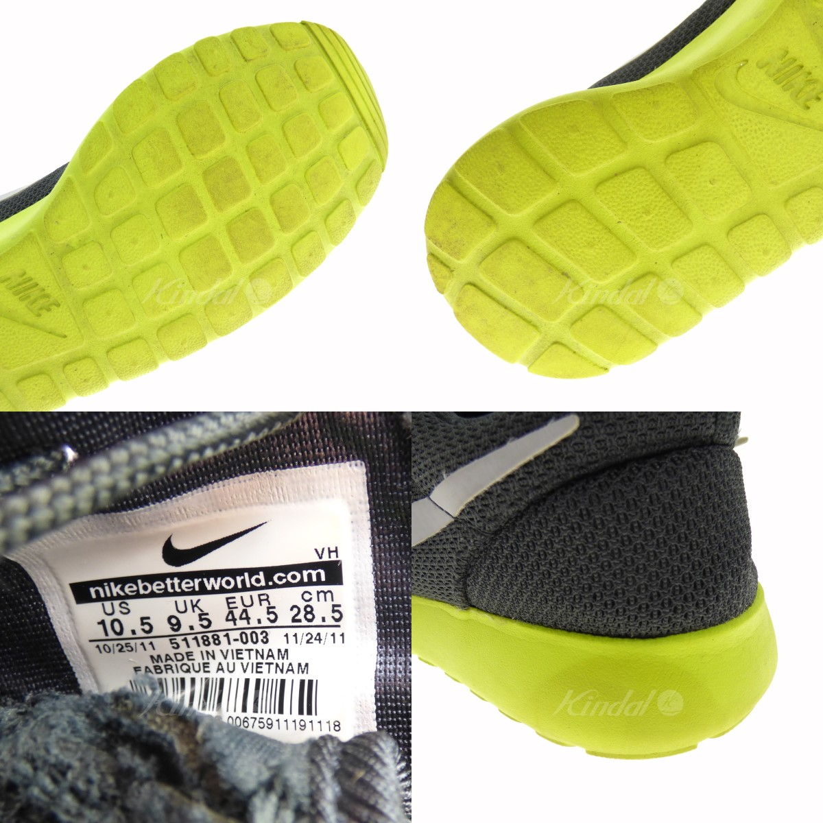 100% authentic 716d2 97eb0 ... hot nike roshe run sneakers 511881 003 gray x yellow size 28. 5cm nike  791bc