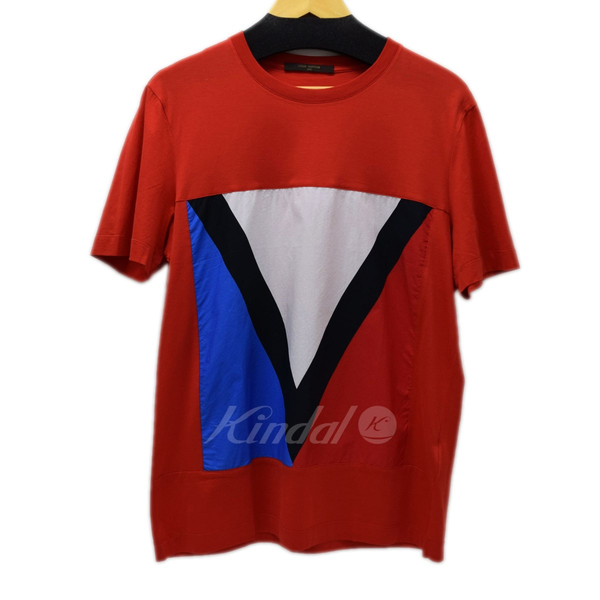 【中古】LOUIS VUITTON ガストンTシャツ レッド サイズ:L 【送料無料】 【120518】(ルイヴィトン)