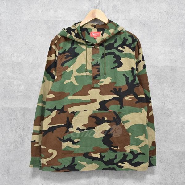 【中古】SUPREME 16SS Hooded Ripstop PulloverShirt カモフラプルオーバーシャツ カーキ他 サイズ:M 【送料無料】 【120518】(シュプリーム)