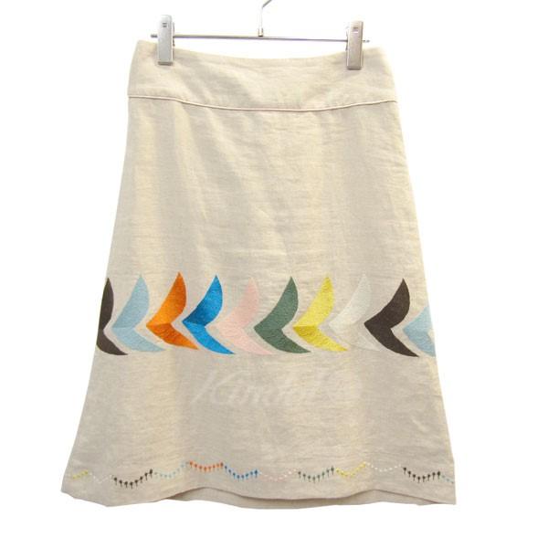 【中古】mina perhonen LAUNDRY bird リネン刺繍フレアスカート 生成 サイズ:36 【送料無料】 【130518】(ミナペルホネン)