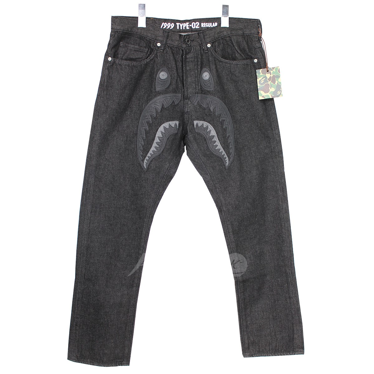 【中古】A BATHING APE 1999 TYPE-02 SHARK BLACK DENIM PANTS シャークデニムパンツ 【送料無料】 【001502】 【KJ1368】