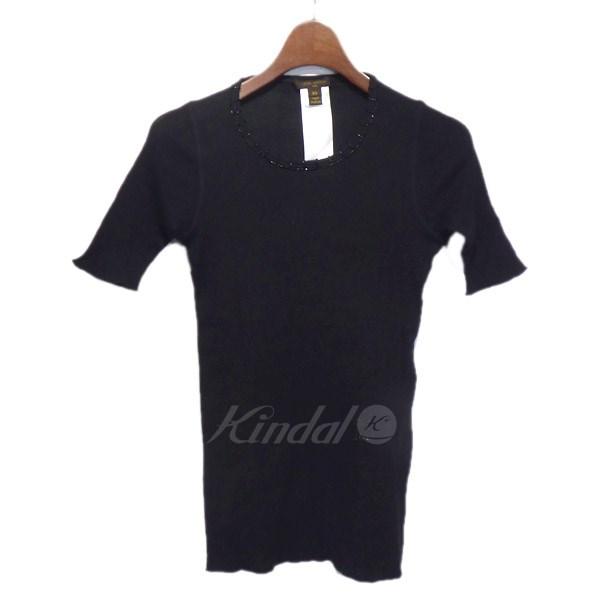 【中古】LOUIS VUITTON 装飾リブニット半袖セーター ブラック サイズ:XS 【送料無料】 【190618】(ルイヴィトン)