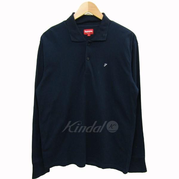 【中古】SUPREME コットンロングポロシャツ ネイビー サイズ:S 【送料無料】 【180618】(シュプリーム)