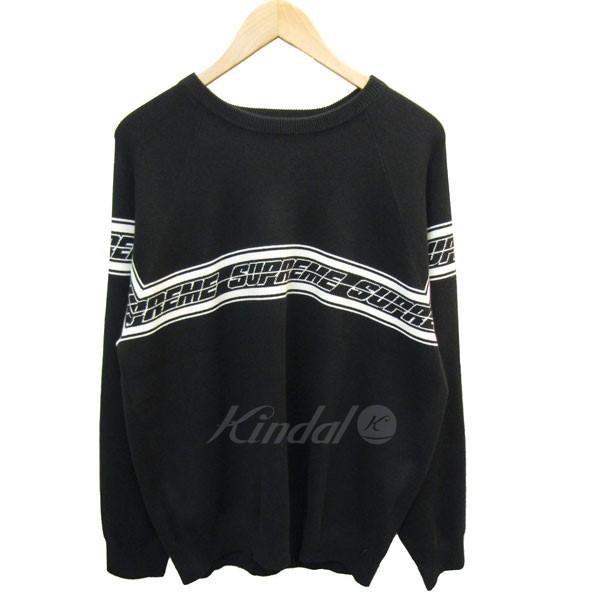 【中古】SUPREME 2018S/S Striped Raglan Sweater コットンニット ラグランセーター ブラック サイズ:L 【180618】(シュプリーム)