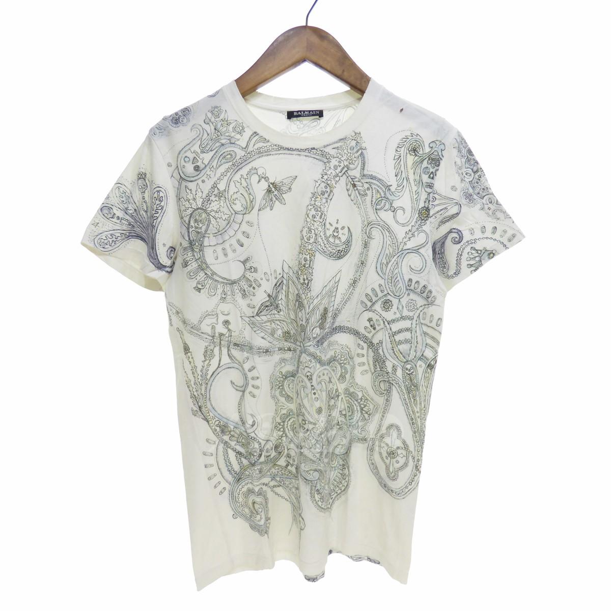 【中古】BALMAIN ダメージ加工総柄スカルTシャツ 【送料無料】 【004275】 【星】