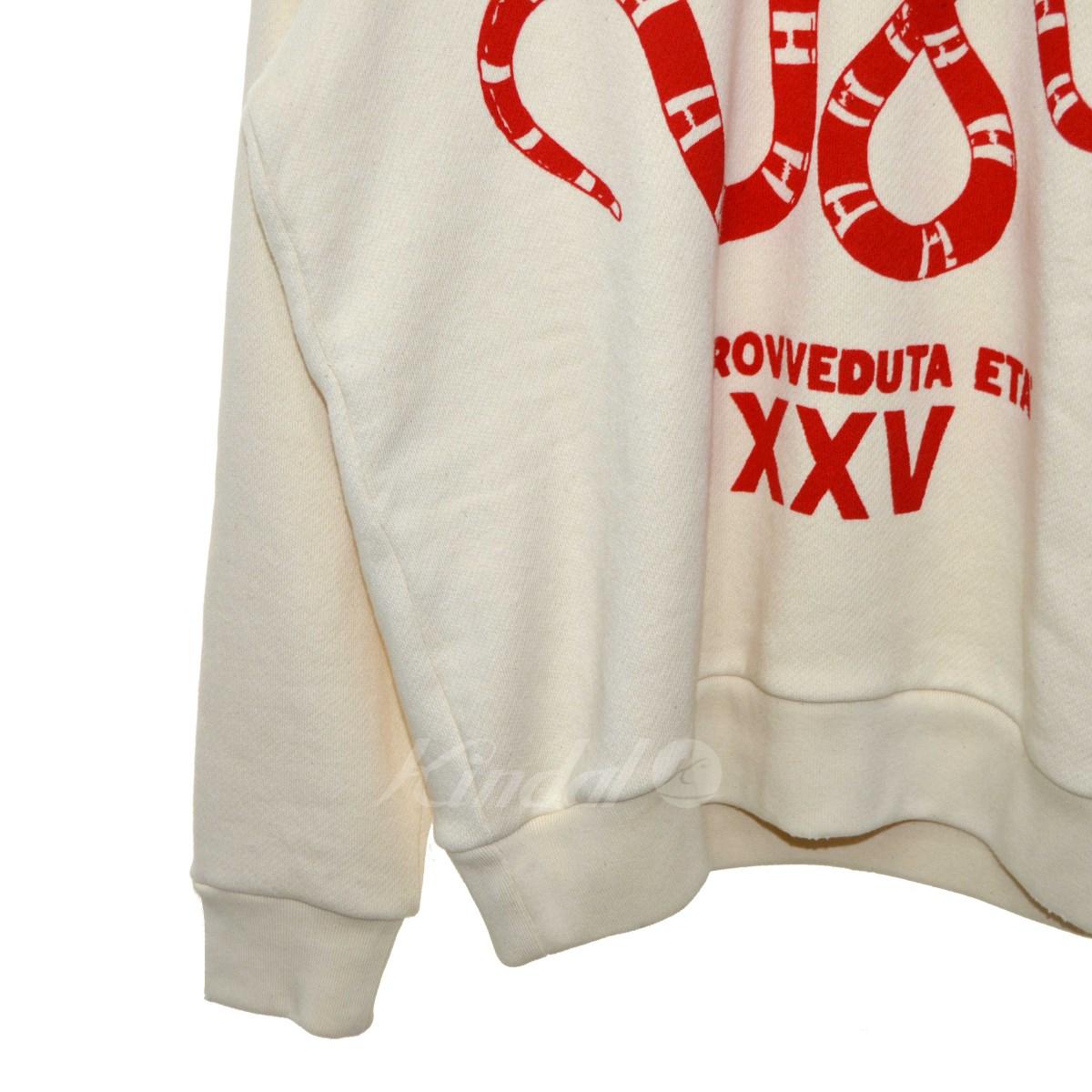 【】GUCCI2018SSGUCCIFYYOURSELFスネークプリントパーカーアイボリーサイズ:XS【送料無料】【210618】(グッチ)