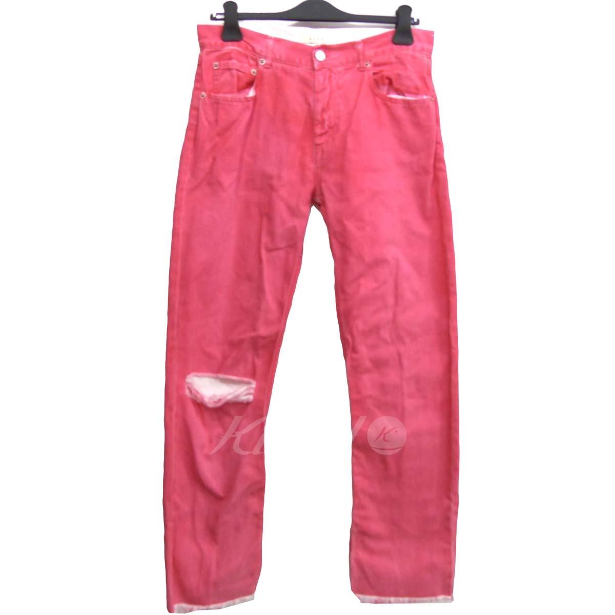 【中古】ALYX「Fringed Cuff Relaxed Jean」カットオフヘム ジーンズ デニムパンツ ピンク サイズ:28 【送料無料】