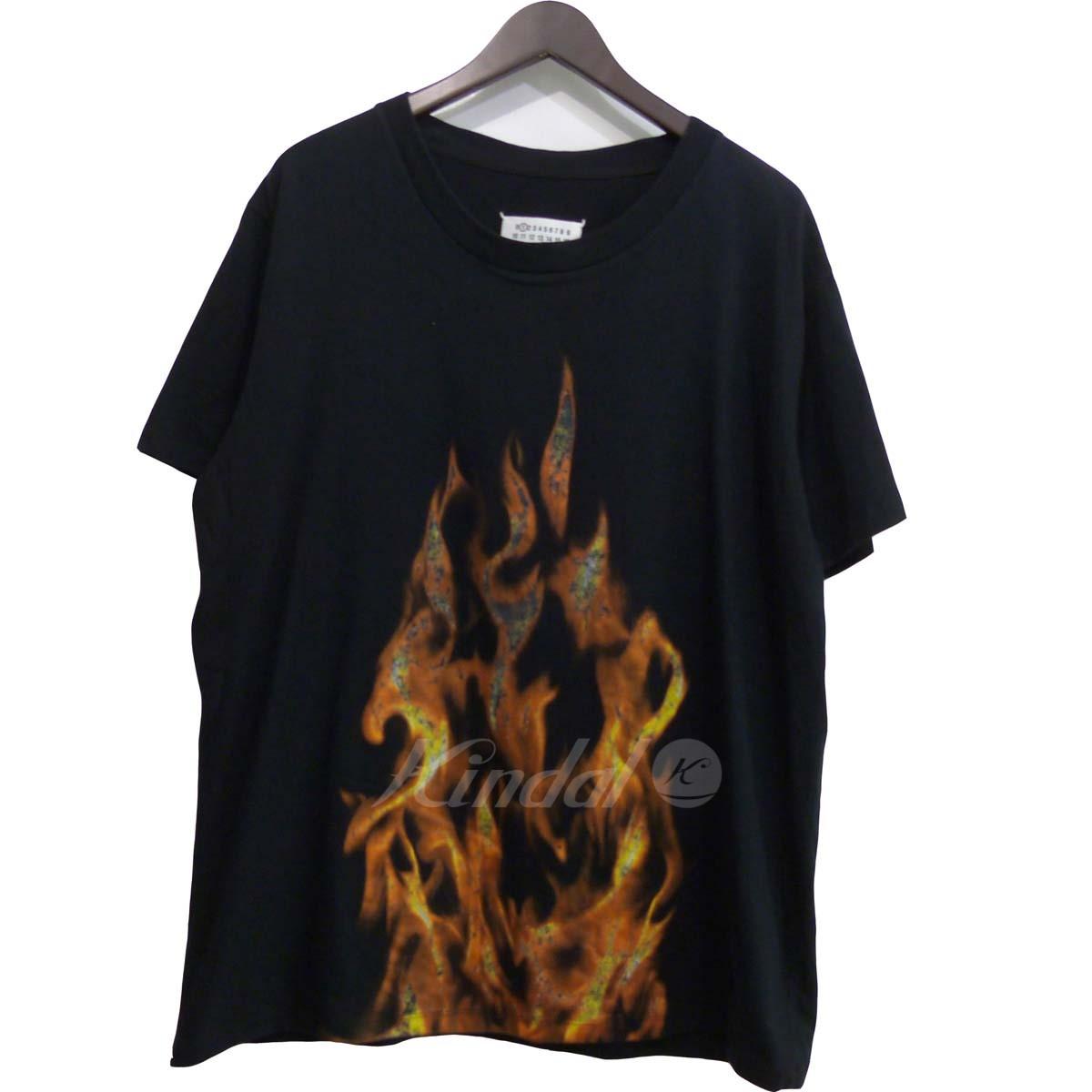 【中古】Martin Margiela1 12SS ファイヤパターンTシャツ ブラック サイズ:M 【送料無料】 【210618】(マルタンマルジェラ1)
