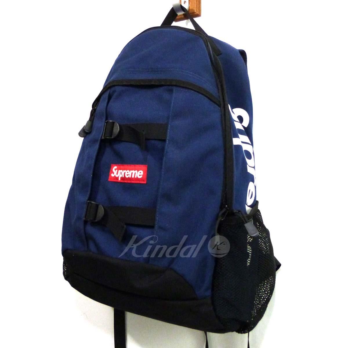 【中古】SUPREME 14SS「Logo Backpack」バックパック リュック ネイビー×ブラック 【送料無料】 【210618】(シュプリーム)